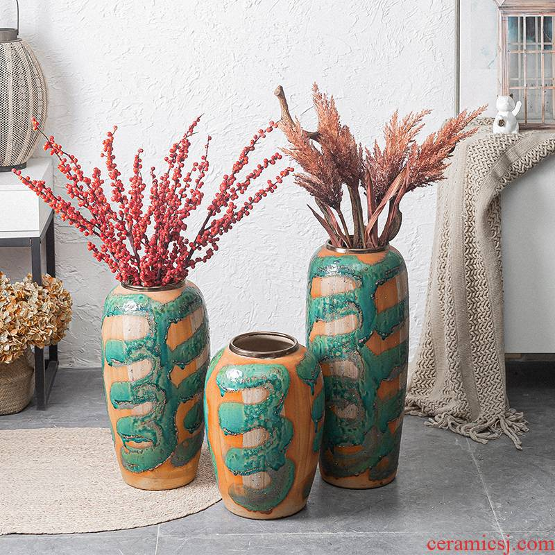 Chinese style restoring ancient ways of large vases, ceramic furnishing articles large POTS sitting room hotel decoration flower arranging dried flowers coarse pottery