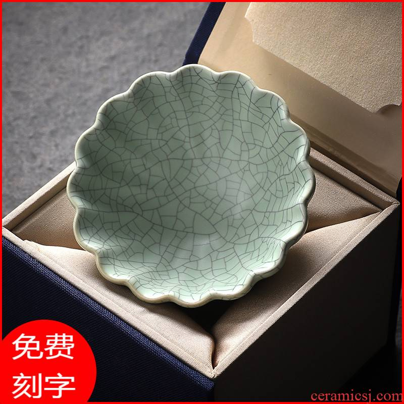 The azure glaze porcelain teacup kunfu tea light ru up market metrix who cup single CPU getting high - end men 's individual special sample tea cup