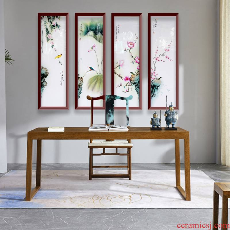 Jingdezhen ceramics hand - made porcelain plate painting birds and flowers, sitting room background wall adornment bedroom study four screen to hang a picture