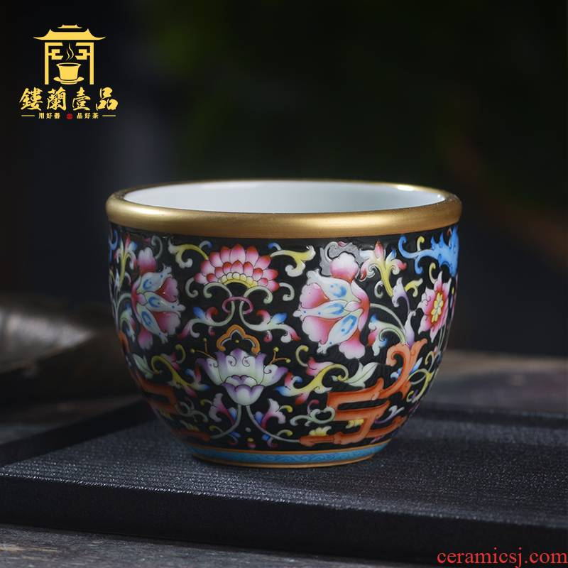 Jingdezhen ceramic hand - made all black enamel bound branch flowers masters cup home kunfu tea, tea cup single CPU