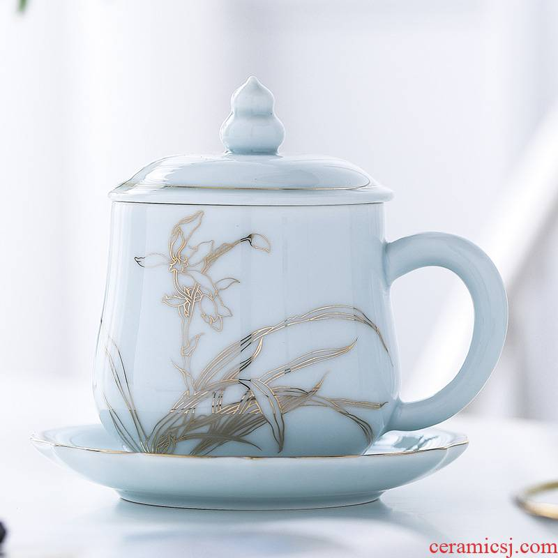 Jingdezhen ceramic cups with cover household glass office make tea cup with personal huai cup cup dish