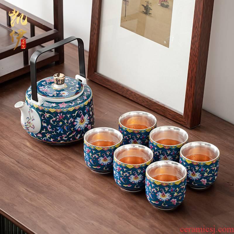 Pure color enamel trail pot coppering. As silver tea set large capacity girder silver pot of jingdezhen ceramic tea cups