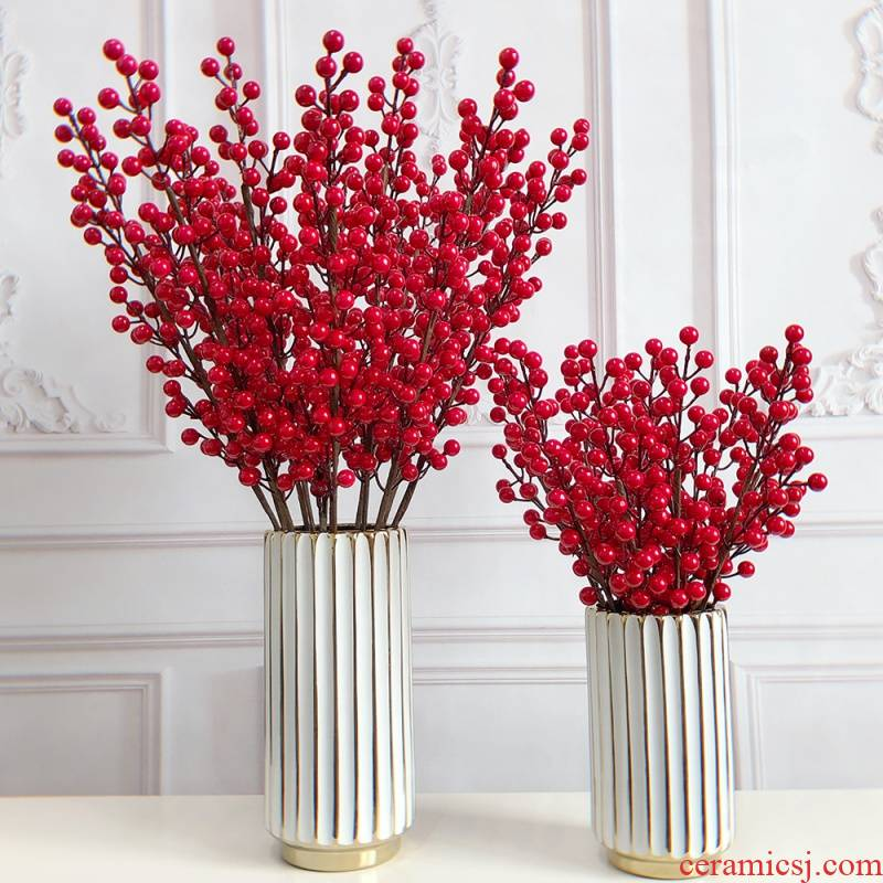 Simulation short shoot berries, rich fruit crabapple glass ceramic flower implement decorative Christmas fruit jequirity gao zhi