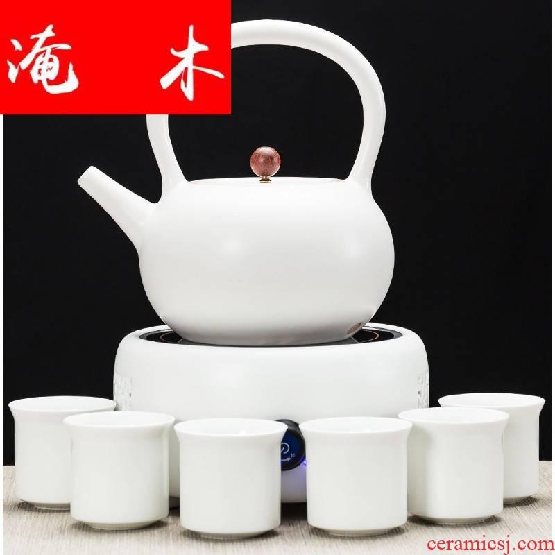 Flooded wooden tea boiling tea ware ceramic teapot high - capacity ceramic POTS automatic electric TaoLu household kettle pot of girder
