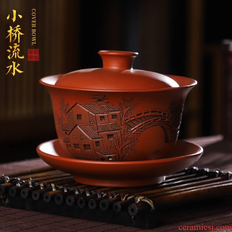 Artisan fairy Bridges violet arenaceous only three tureen ceramic cups household pure manual kung fu tea tea bowl