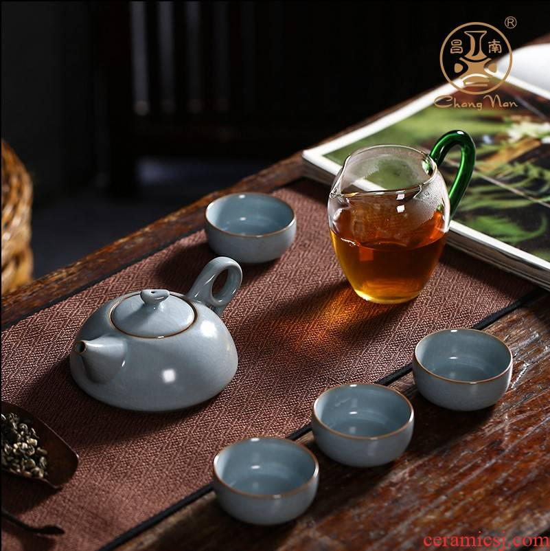 Chang south your up can keep open piece of qingping le ceramic kung fu tea set undressed ore glaze porcelain teapot teacup