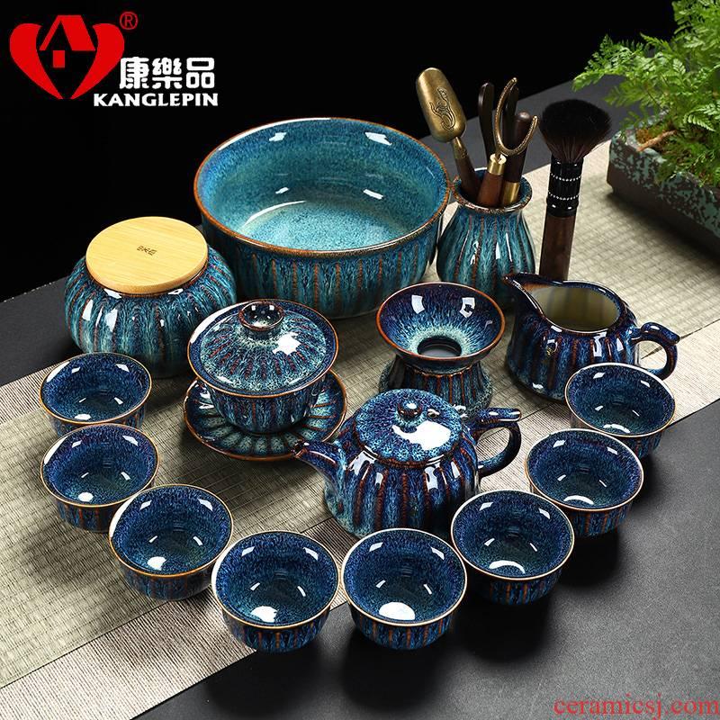 Recreational product Tian He up kung fu tea set home built a complete set of ceramic lamp cup tureen filtering teapot