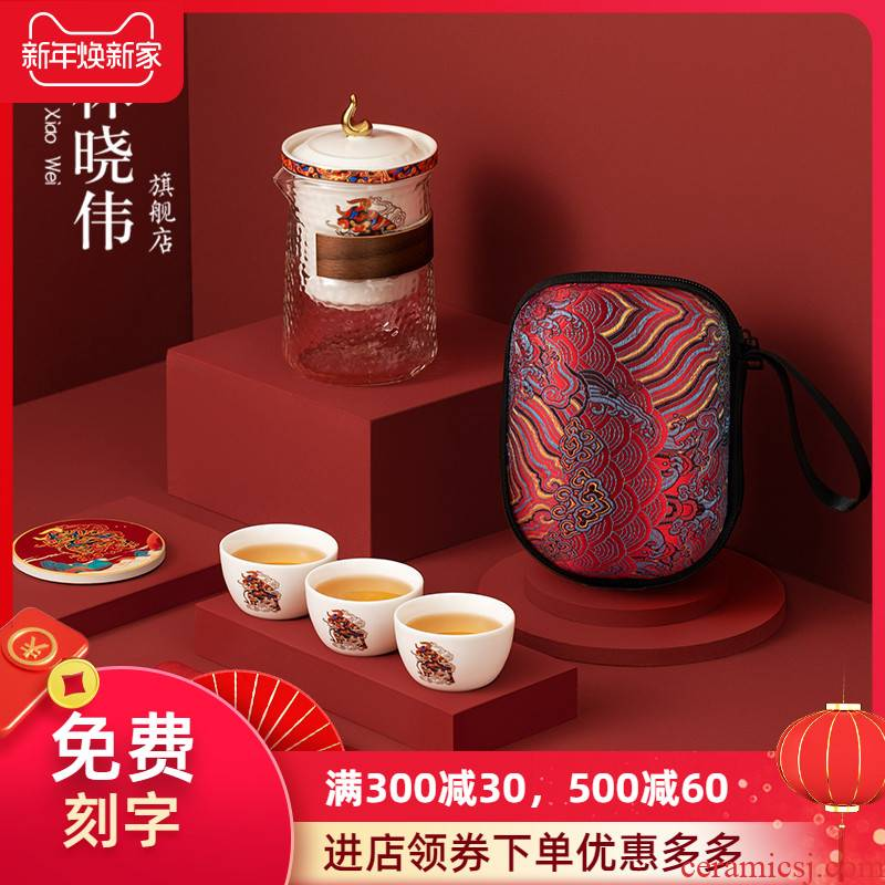Travel kung fu tea set suit portable bag with a pot of three cups of hot crack of glass cup ceramic gifts customized