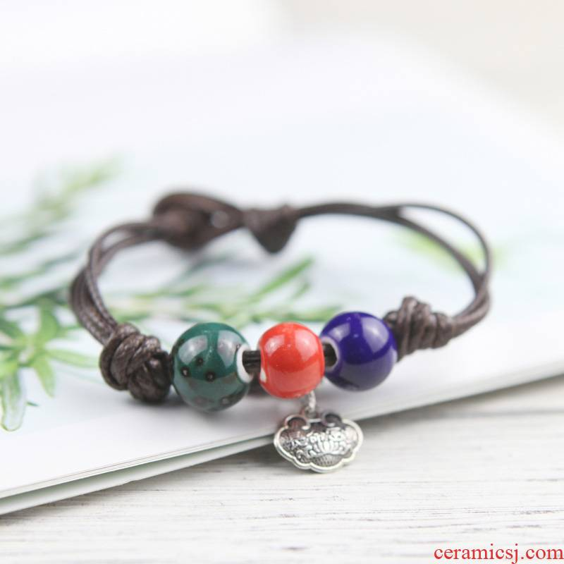 The Original hand knitting QingGe red rope contracted national wind restoring ancient ways, the female is a ceramic bracelet accessories street source of rites