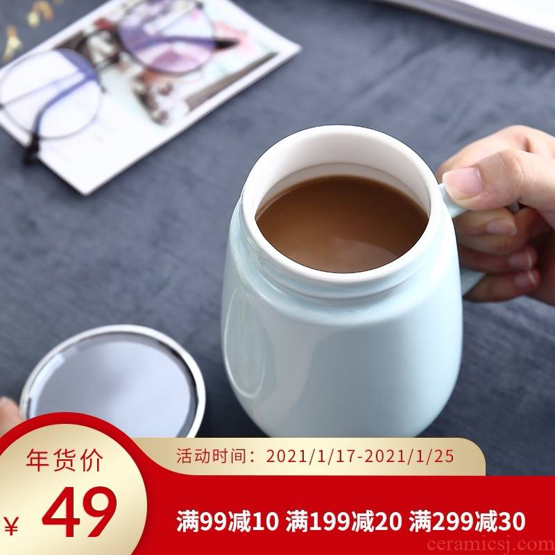 Mark cup with cover spoon cup high - capacity household individuality, valentine creative trend, lovely cup ceramic cup