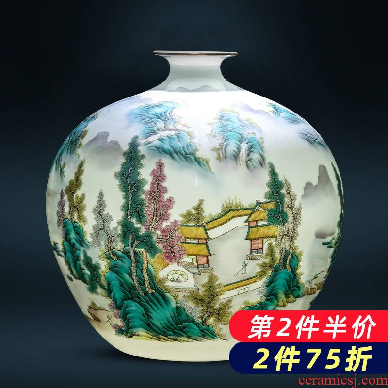 Jingdezhen ceramics pastel landscape thin body new Chinese style household vase office sitting room adornment is placed