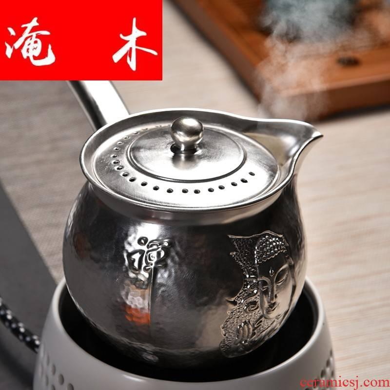 Flooded wooden household beadle zen Buddhism ceramic boiling tea ware black tea teapot tea heat - resistant tasted silver gilding craft ceramic pot of electricity