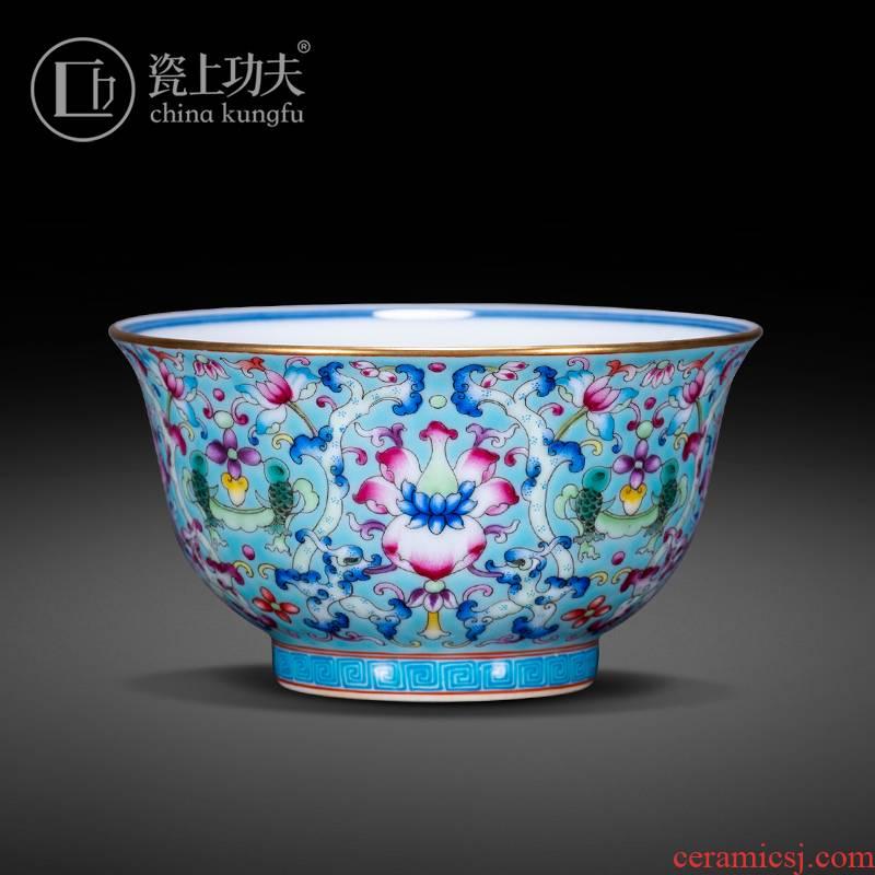 Jingdezhen ceramic flower master hand of blue and white porcelain enamel dragon grain treasure phase CPU kung fu tea cup sample tea cup