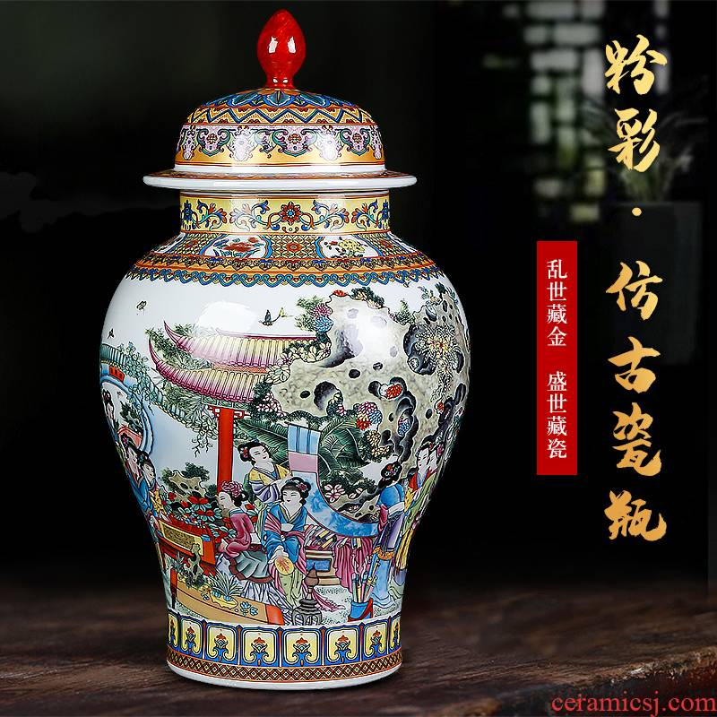 Jingdezhen ceramics powder enamel twelve gold hair pin general large storage tank cover pot household act the role ofing is tasted furnishing articles sitting room