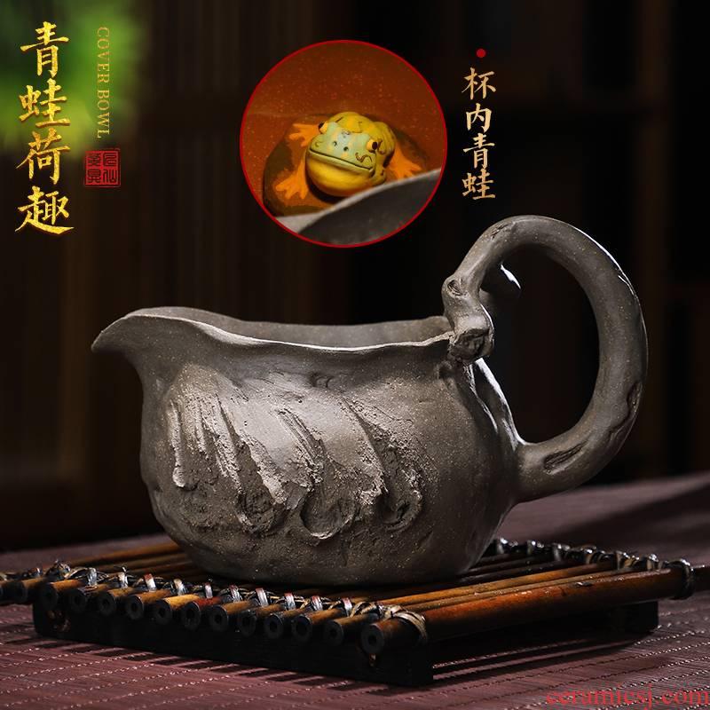 Artisan fairy frog hand knead fair purple sand cup retro household pure manual creative kung fu tea tea tea sea points