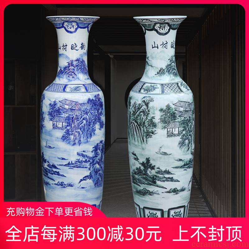 Blue and white landscape painting village jingdezhen ceramics hand - made dawn rhyme of large vases, home sitting room hotel furnishing articles