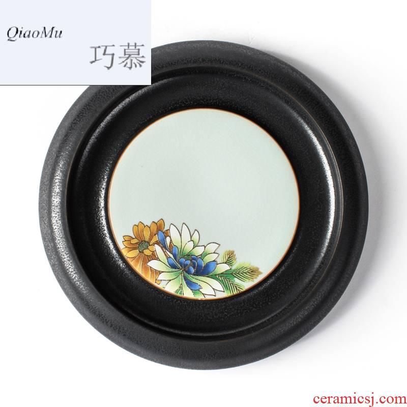 Qiao mu, black pottery creative ceramic Japanese pot bearing up pot holder, pot pad kung fu tea set on red glaze, flower dry terms