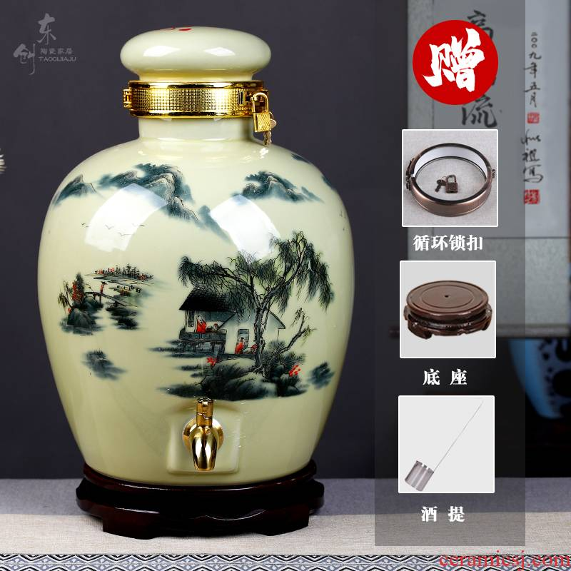 Home wine jar sealing of jingdezhen ceramic deposit flask furnishing articles with leading wine bottle is empty cylinder wine liquor jugs