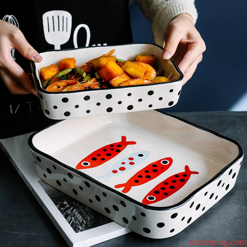 Creative rectangle baking oven with ceramic cheese paella dinner plates with web celebrity food dish deep dish bowl