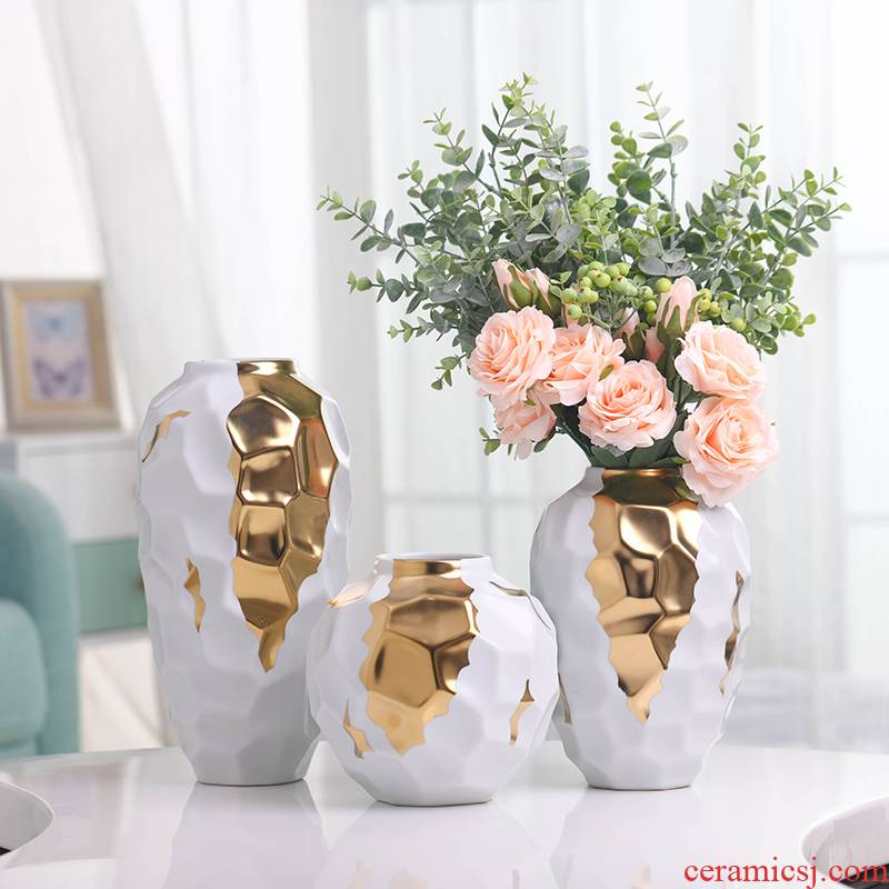 Dried flower vase Nordic light ceramic creative key-2 luxury white contracted sitting room of all over the sky star TV ark, decoration flower arranging furnishing articles