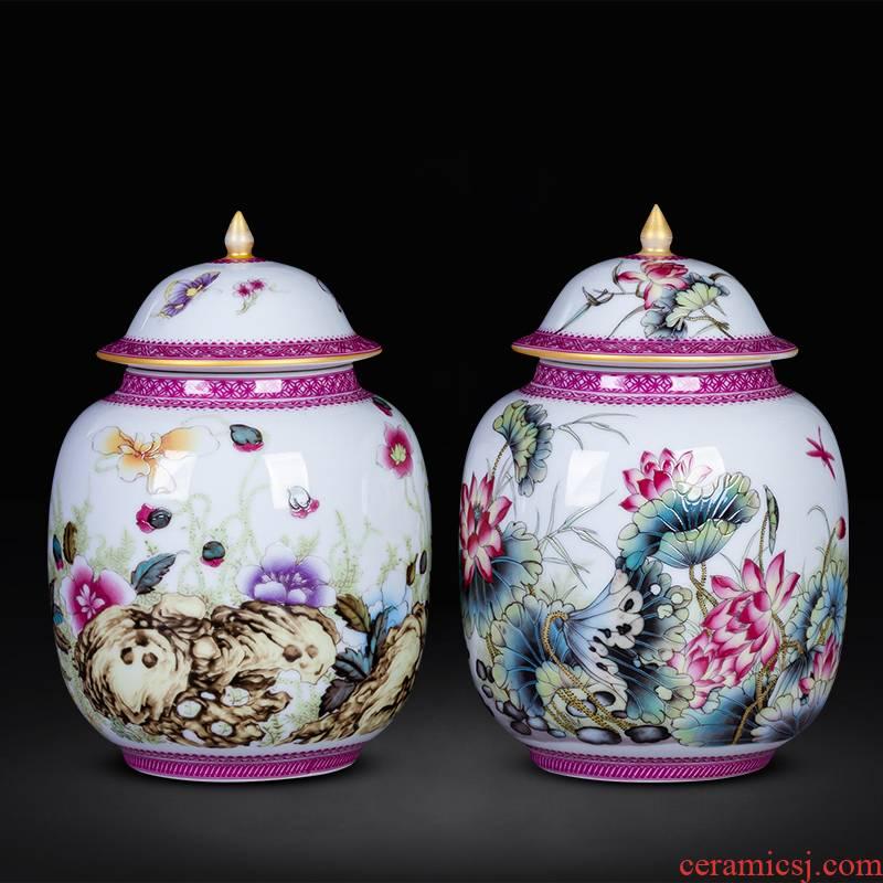 Jingdezhen ceramics trumpet pastel colored enamel small tea pot home receive storage adornment furnishing articles