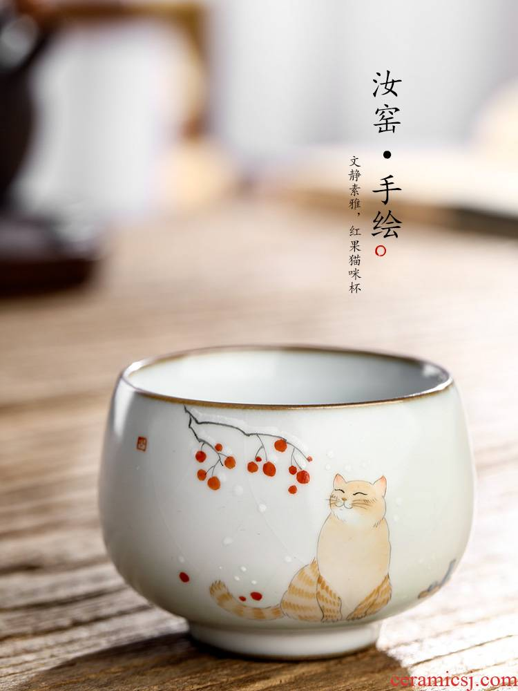 Jingdezhen kung fu tea cup your up hand - made master cup ceramic tea cup pure manual cat, a single sample tea cup list