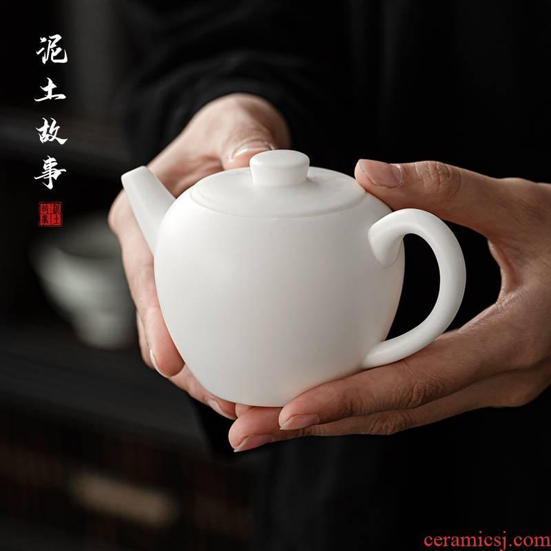 Dehua manual suet jade teapot single pot of white porcelain beauty make tea pot of household, small single tea