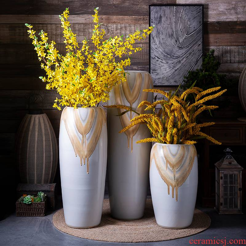Light European - style key-2 luxury ceramic floor large vases, I and contracted sitting room bedroom dry flower, flower arranging, adornment is placed