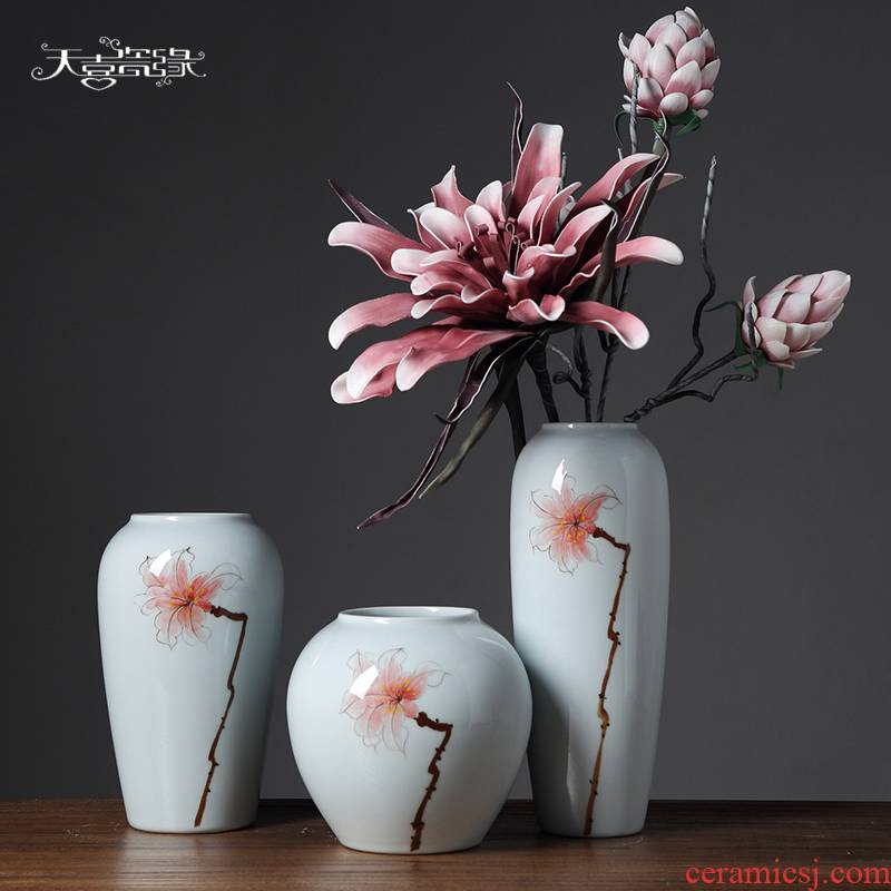 Jingdezhen I and contracted ceramic vase furnishing articles sitting room TV cabinet table soft adornment dried flowers flower arrangement