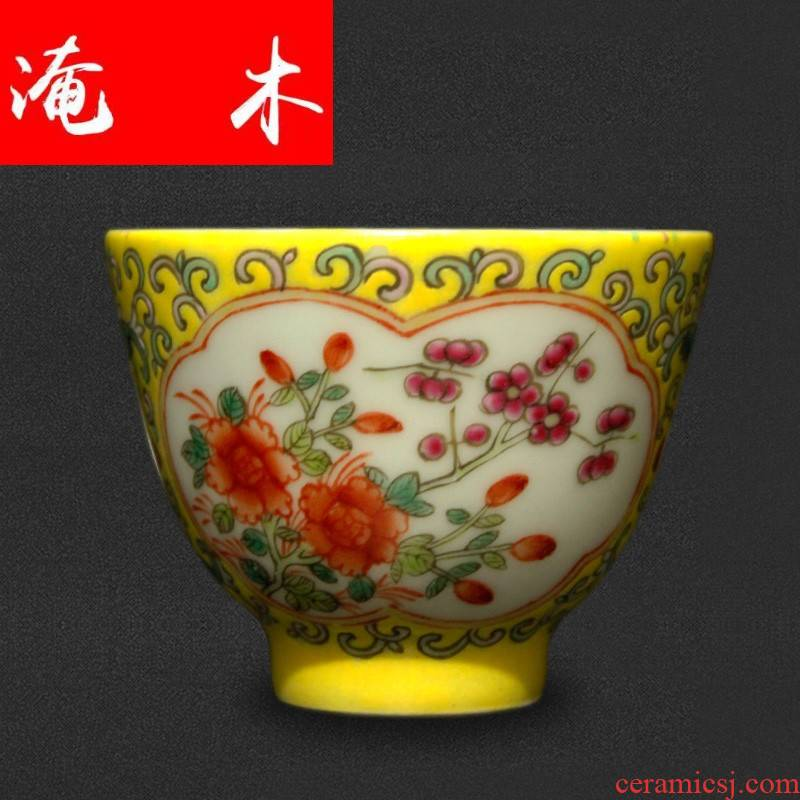 Flooded jingdezhen wood antique collection guangxu dynasty antique hand - made pastel flowers single cup tea cup master CPU