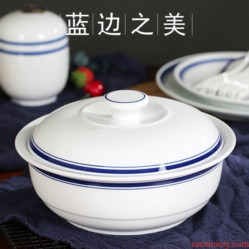 Qiao mu jingdezhen ceramic bowl with cover large dishes soup pot nine inches pot creative Japanese under the glaze color restoring ancient ways