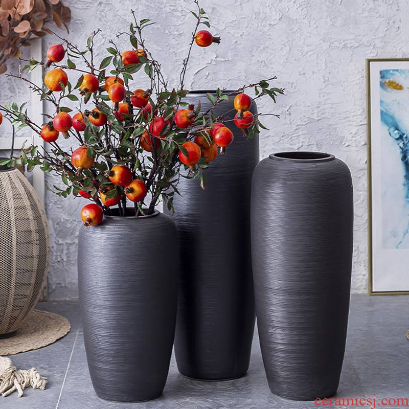Nordic ground ceramic vase large furnishing articles dried flowers decorate the sitting room porch flower arranging creative contracted black pottery