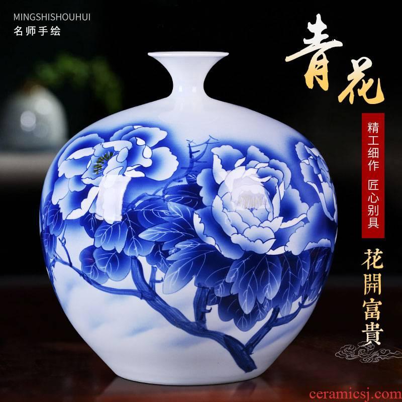 Jingdezhen ceramic hand - made vases sitting room home decoration large pomegranate bottle study Chinese TV ark, furnishing articles