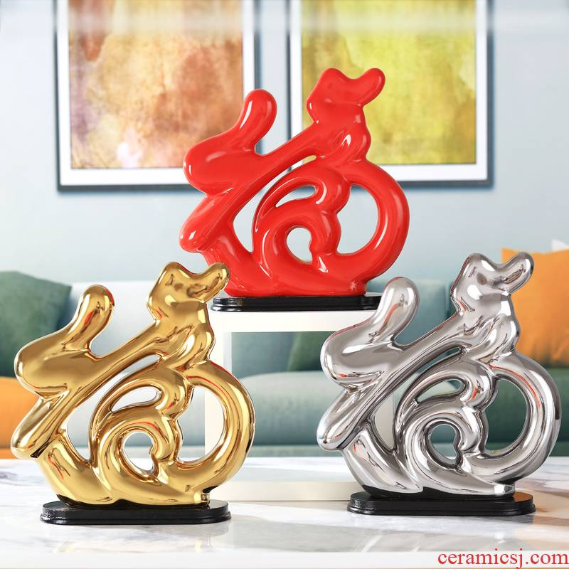 Heart - shaped furnishing articles floret bottle home sitting room ark, ceramics decoration decoration version into opening gifts to everyone