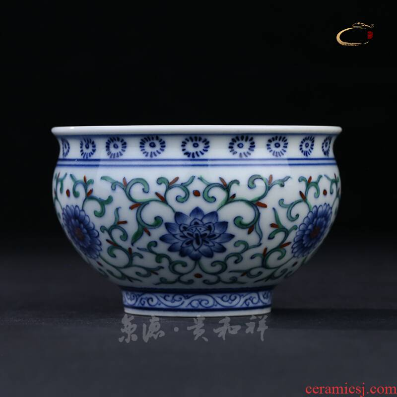 And auspicious jingdezhen pure manual master cup dou colors branch flowers cup master cup single CPU hand - made sample tea cup