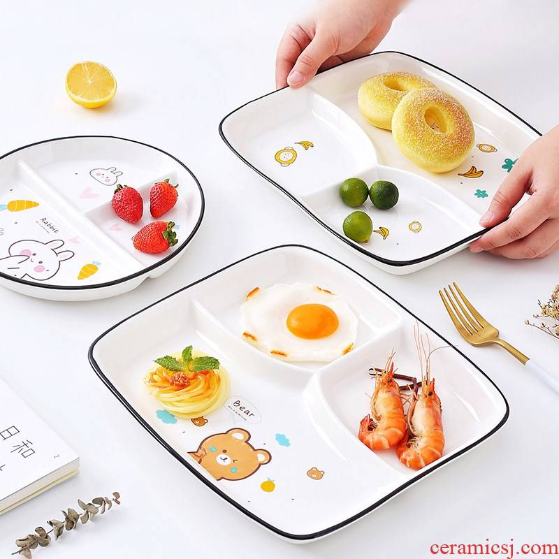 Ceramic tableware frame plate web celebrity Nordic household tray is a creative people eat lovely children three plates