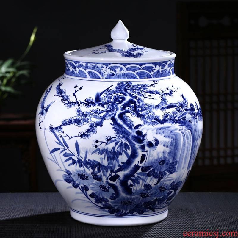 Jingdezhen ceramic barrel ricer box storage tank hand under glaze blue and white color tea cylinder adornment ornament porcelain jars