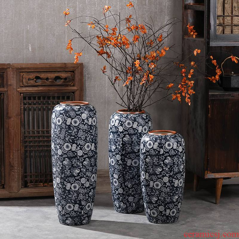 Vintage blue and white are dried flowers sitting room ground large ceramic vase Chinese old Chinese zen nostalgic wind furnishing articles