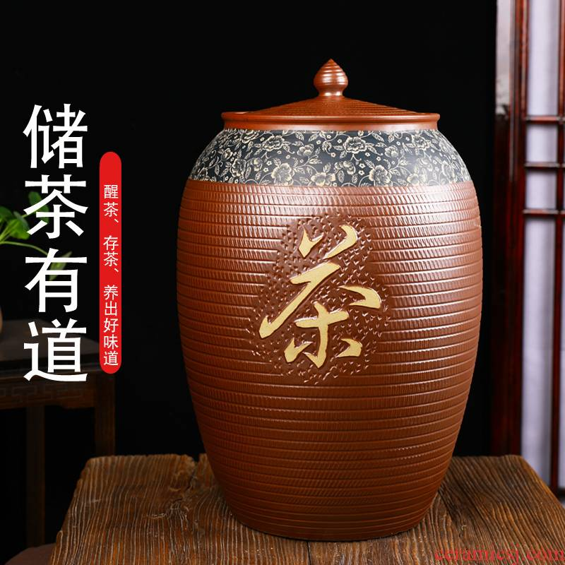 Jingdezhen hand - carved ceramic tea urn large storage tank cylinder storage tanks tank 50 pounds