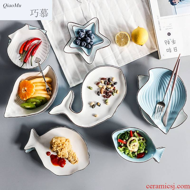 Qiao mu express it in Marine fish shape ceramic plate breakfast tray dish plate of fruit salad bowl dish plate