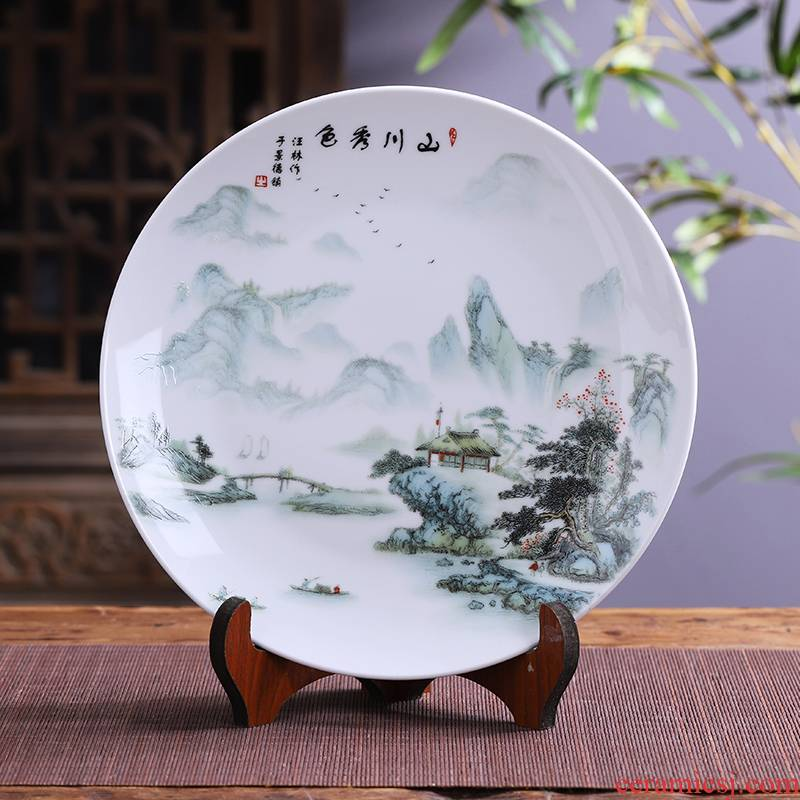 36 cm jingdezhen ceramics hang dish big furnishing articles and sitting room of Chinese style household handicraft decoration decoration plate