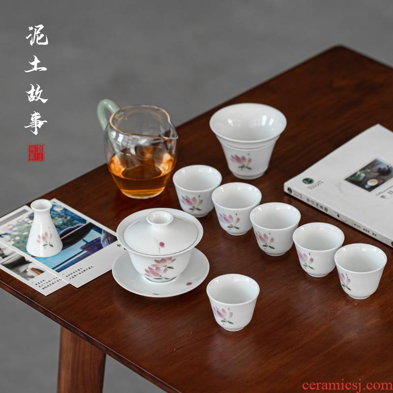 Jingdezhen hand - made violet tureen suit white porcelain teacup set three bowl of kung fu tea service item of household gift box