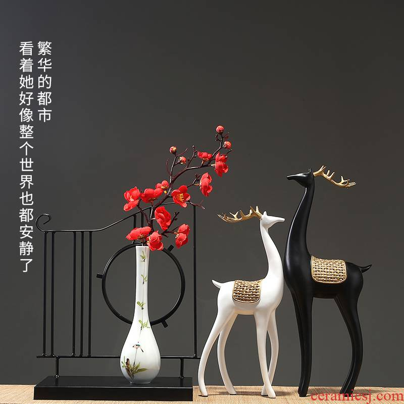 Jingdezhen ceramic vases, ceramic vases, flower arrangement sitting room porch decoration home decoration furnishing articles pottery flower