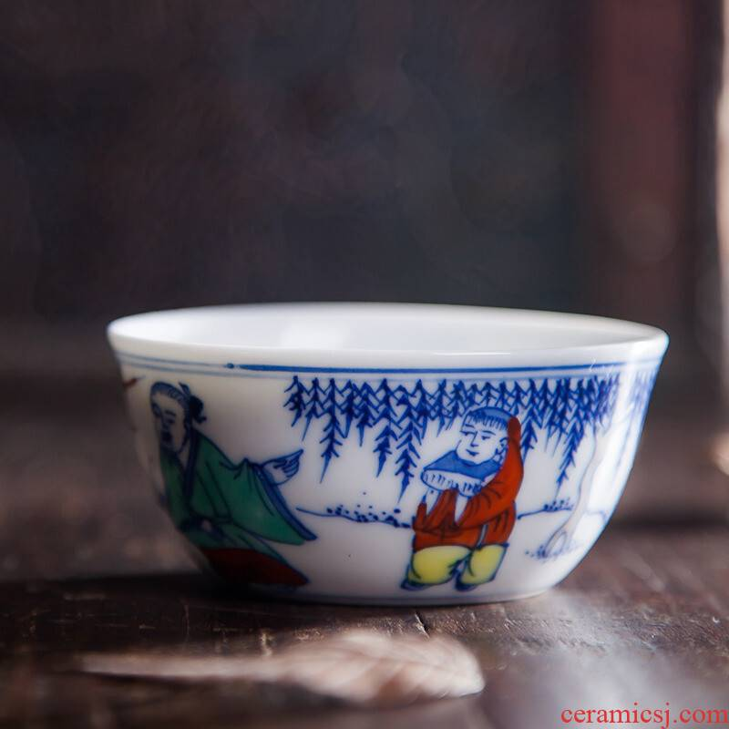 Poly real scene of jingdezhen ceramic color bucket sample tea cup hand - made large master cup of archaize single CPU kung fu tea cups individuals