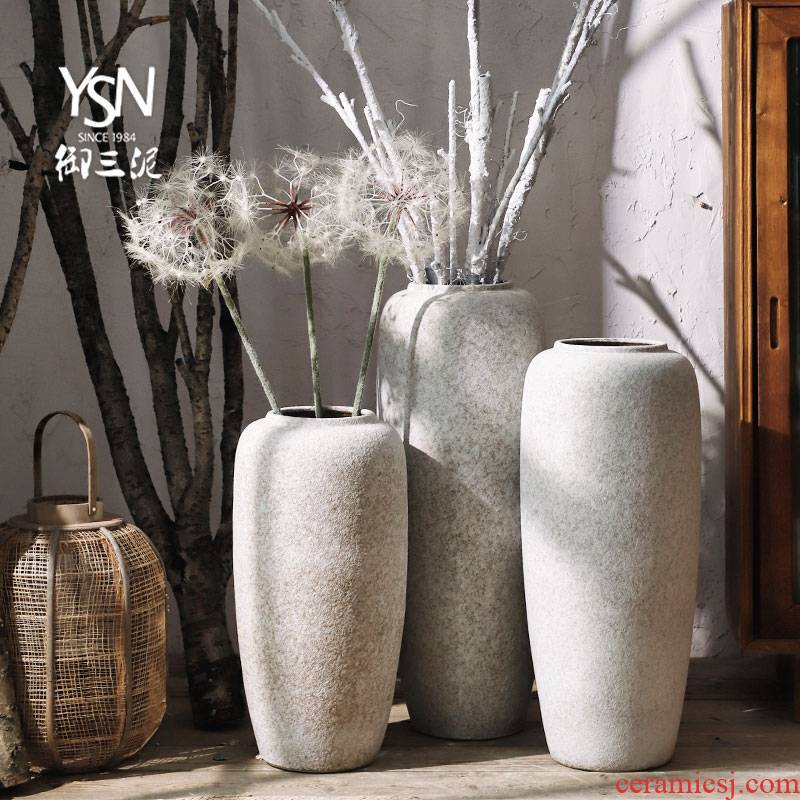 Royal three Nordic I and contracted, dry flower mud creative sitting room place vases, ceramic floor flower arranging flower POTS