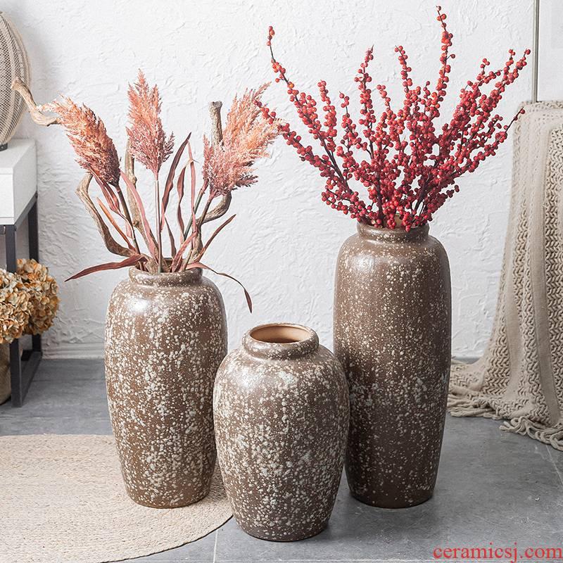Jingdezhen manual coarse pottery restoring ancient ways of large sitting room dry flower POTS decoration vase simulation flower art furnishing articles