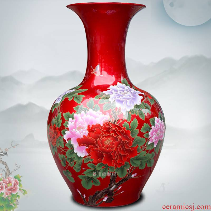 Jingdezhen ceramics China red crystal glaze paint peony flower landing big vase household act the role ofing is tasted furnishing articles