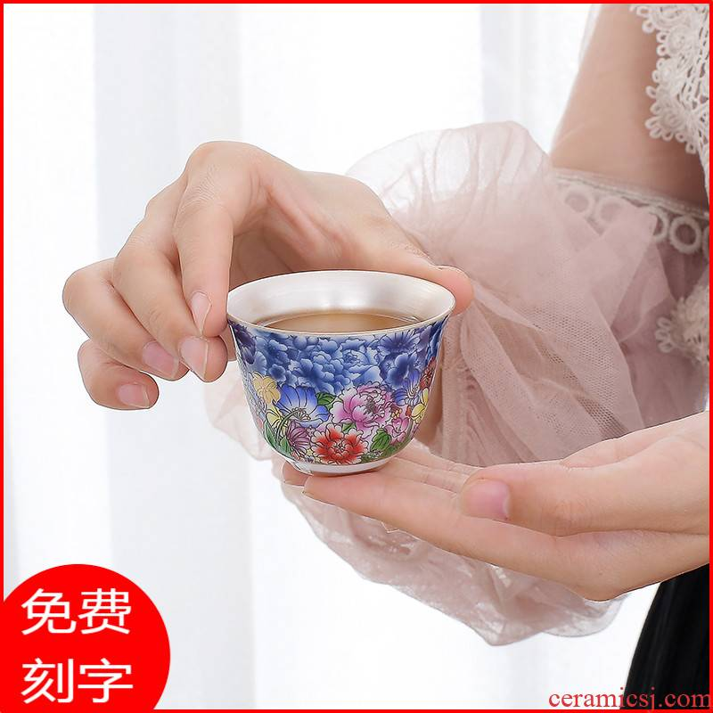 The Sample tea cup jingdezhen colored enamel silver cup tea kungfu tea cup single cup silver checking coppering. As silver master CPU