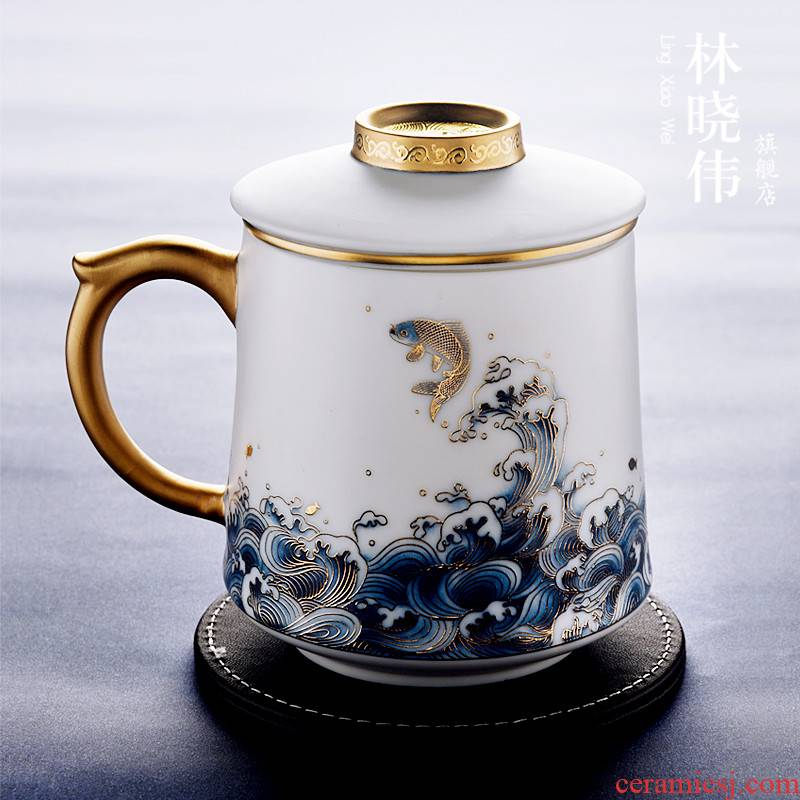 Dehua suet jade white porcelain cup tea cup with cover filter ceramic cup office high - grade masters cup