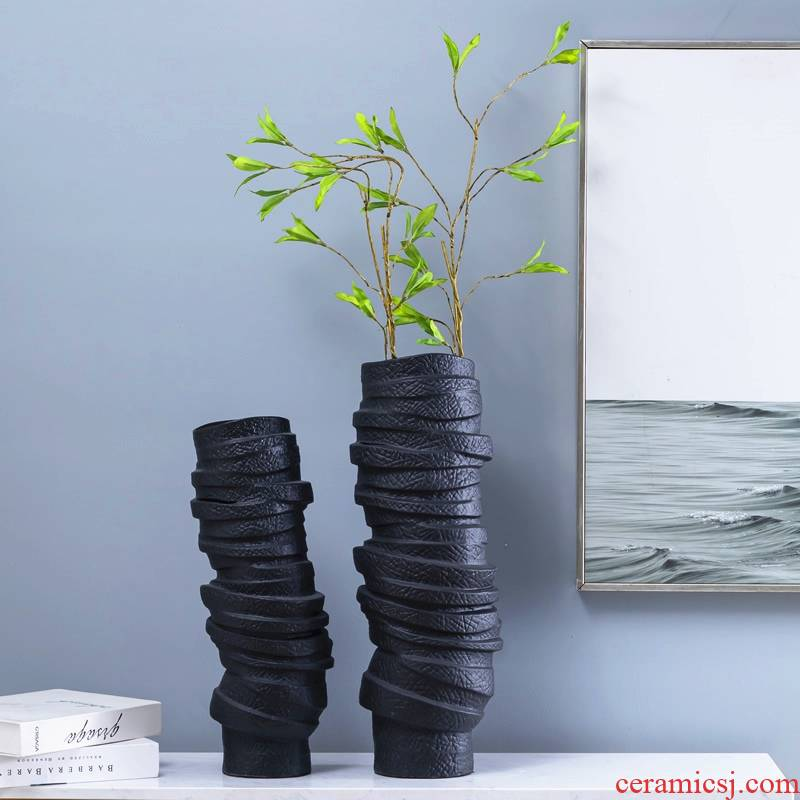 Modern minimalist vase creative contracted sitting room, black ceramic furnishing articles dried flowers flower arrangement home soft decoration